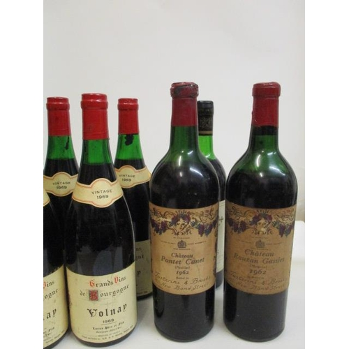 41 - A quantity of seven mixed reds to include Chateau Pontet Canet Pauillac 1962 and Valnay 1969...