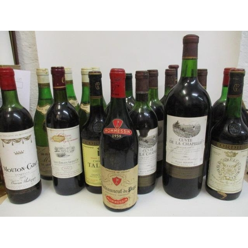 42 - Twenty three mixed reds and white wines to include 1959 Chateauneuf-du-Pape, Bordeaux 1979...