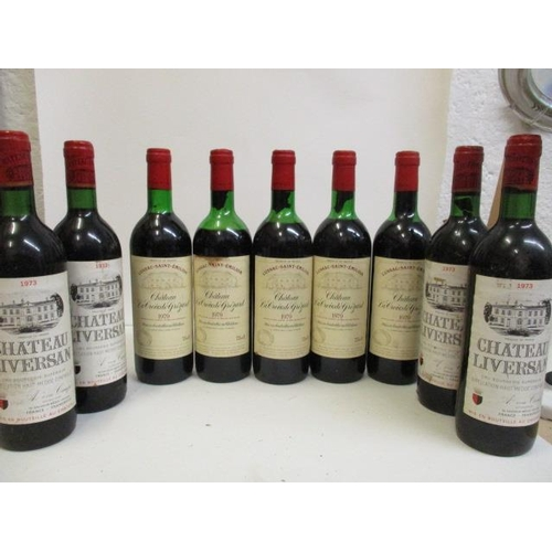 44 - Four bottles of Chateau Liverson, Haut-Medoc Cru, Bourgeois Superieur 1973 and five bottles of Lussa...