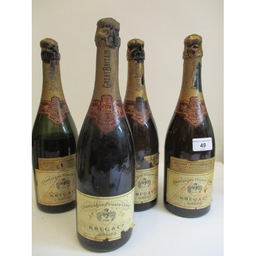 49 - Three bottles  of Krug & Co 1937 Extra Sec Champagne and one bottle of Krug & Co 1928 A/F showing 19...