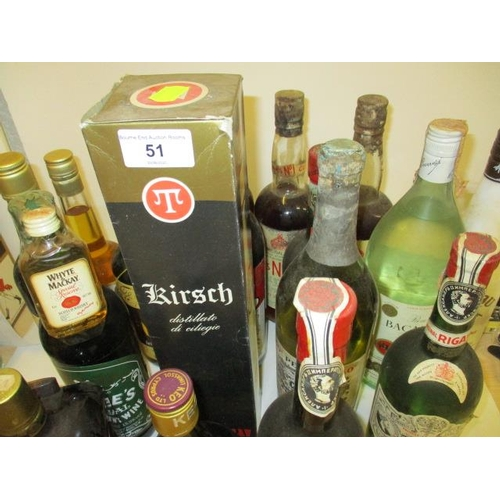 51 - A selection of miscellaneous mixers to include Campari, Pimms, Pernod, Kirsch and Mead...