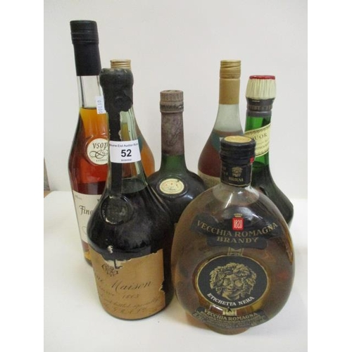 52 - Vecchia Romagna brandy and mixed spirits to include cognac, seven bottles in total...