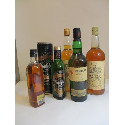 53 - Five bottles of mixed whisky to include Lochlan 70cl, Glenfiddich 35cl, Johnnie Walker Black Label 3...