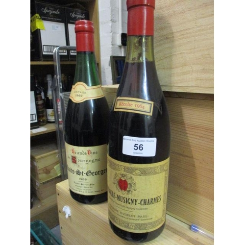 56 - Twenty two mixed red wine to include Chambolle-Musigny-Charmes 1964...
