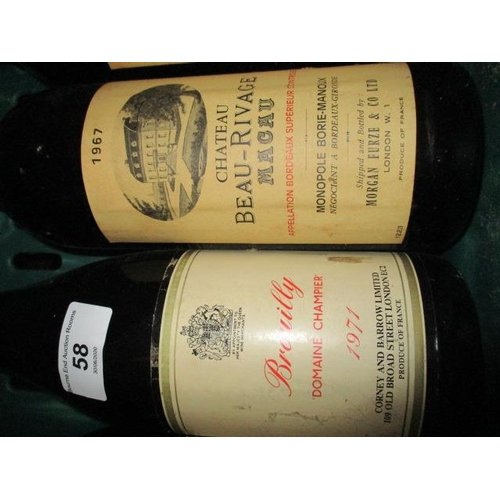 58 - Eight bottles of French wine to include Brouilly 1971 Domine Champier 1967, Chateau Beau-Rivage Mack...