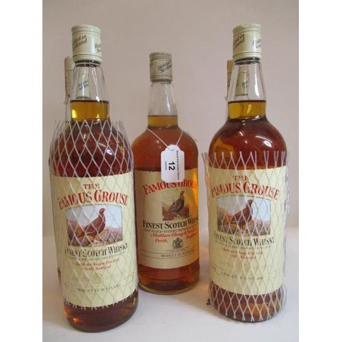 12 - Five 1lt bottles of The Famous Grouse Whisky...
