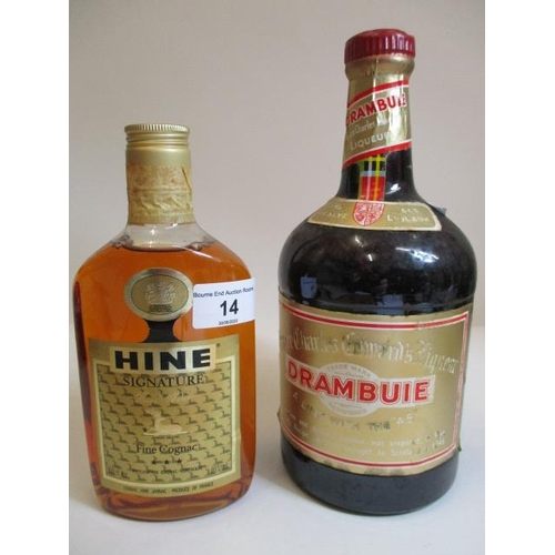 14 - One bottle of Hine Signature Fine Cognac 50cl and one bottle of Drambuie...