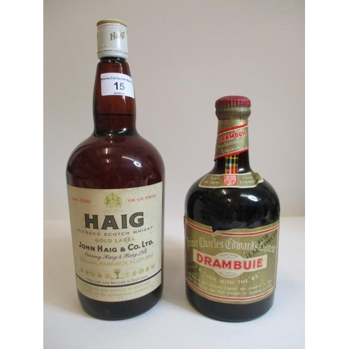 15 - One bottle of Haig Gold label blended Scotch Whisky and one bottle of Drambuie, both marked NAFFI st...