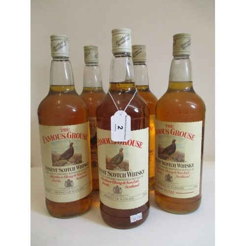 2 - Five 1lt bottles of The Famous Grouse Whisky...