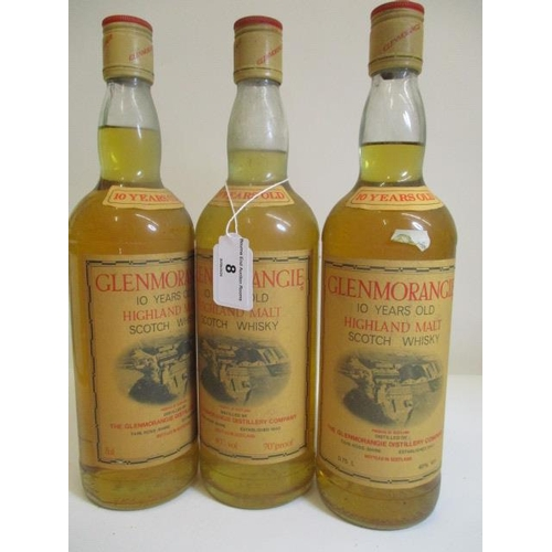 8 - Three bottles of 75cl 10 year old Glenmorangie Highland Scotch Whisky...