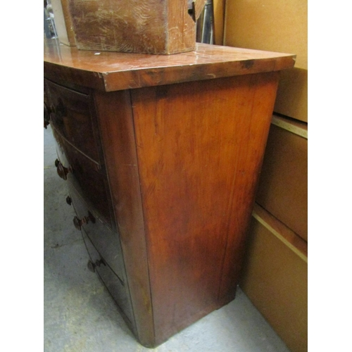 35 - A Victorian mahogany bow fronted chest of two short and three graduated long drawers on bracket feet...