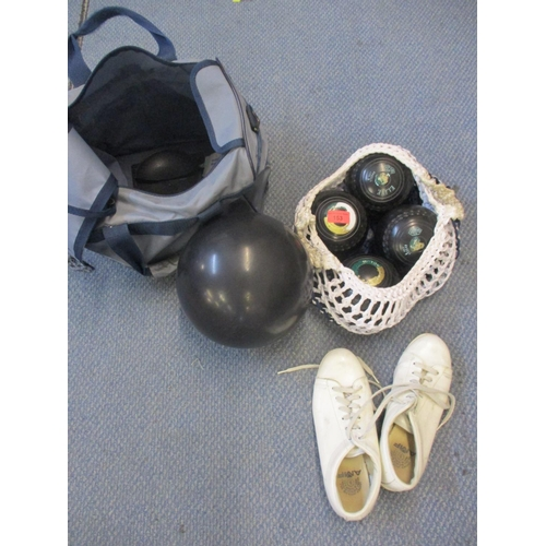 36 - A set of Sutton bowling balls, a tenpin bowling ball and shoes, a pair of cream painted lamps and th...