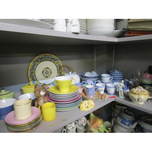 75 - Modern oriental ceramics and a retro multi coloured Noritake part teaset together with two large mid...