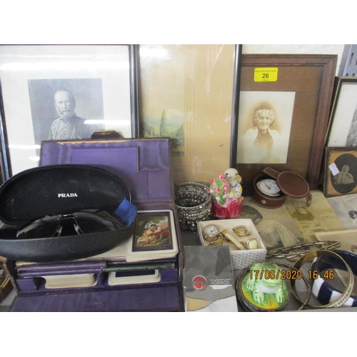 26 - A quantity of vintage photographs and prints, vintage playing cards and modern wristwatches Location...