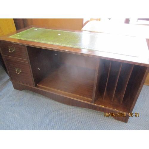52 - A late 20th century mahogany CD cabinet, a small oak wall shelf, a demi lune table conversion, a mah...