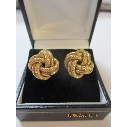54 - A pair of 9ct gold knot design earrings, 3.4g Location: CAB...