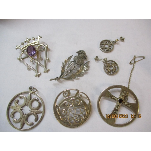 55 - Scottish silver and other jewellery to include four brooches and a matching pair of earrings and pen...