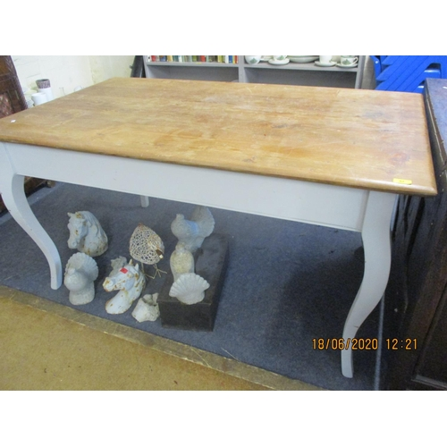 57 - A French pine kitchen table with French grey painted cabriole legs Location: RAB...