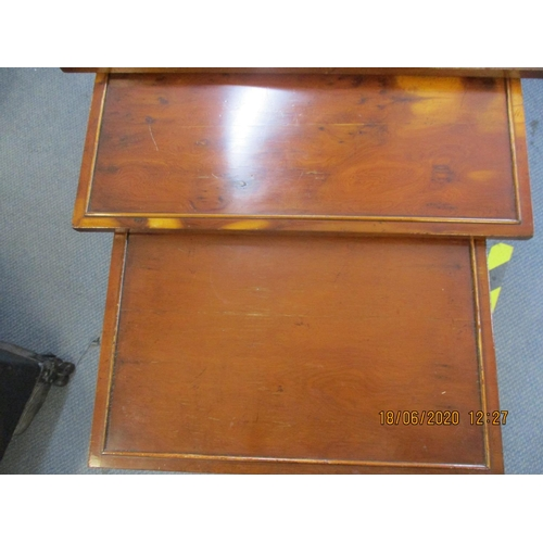 59 - A Burton reproduction nest of three yew tables A/F Location: BWR...