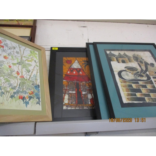 60 - Pictures to include two watercolours, a 19th century print of Old Windsor Lock, batique and others L...