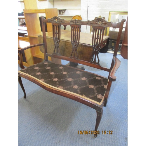 71 - An early 20th century mahogany finished and framed salon settee.  Location: RWB...