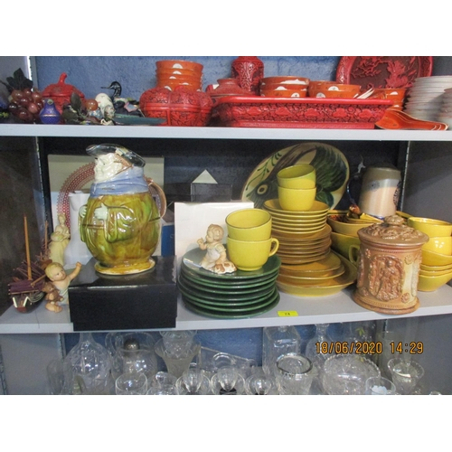 74 - Flemish and German pottery and stoneware to include a stoneware tobacco jar and Mixed ceramics to in...