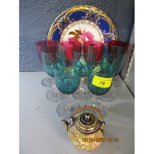 78 - Early 20th century pedestal wine glasses, four cranberry glass and five green glass, a miniature Sat...