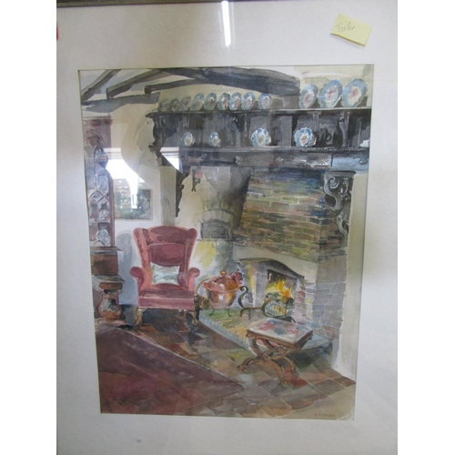 77 - A group of framed and unframed watercolours and prints to include a Denby Sadler print and a waterco...