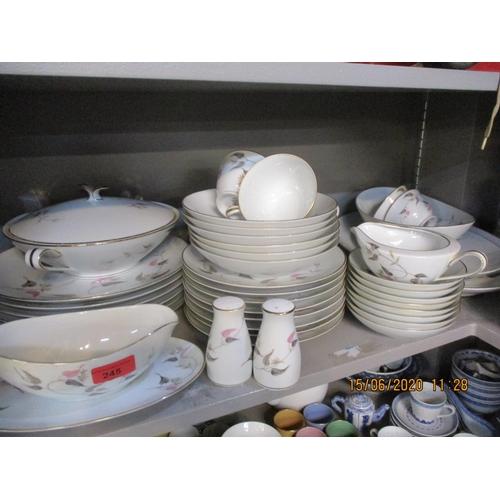 76 - A Noritake Arden dinner and tea service, Retro mid 20th century kitchenalia to include copper, a Fol...