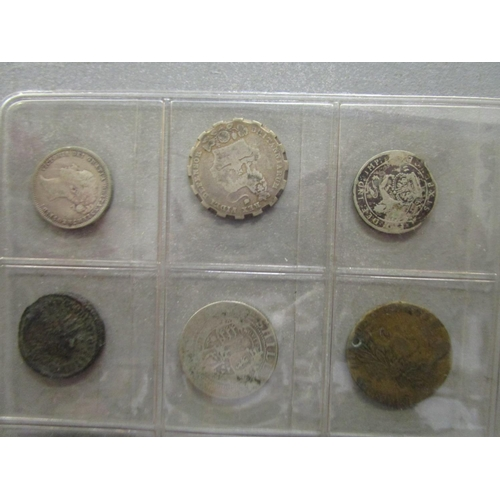 12 - A small group of coins to include George III silver shillings Location: COIN TABLE...