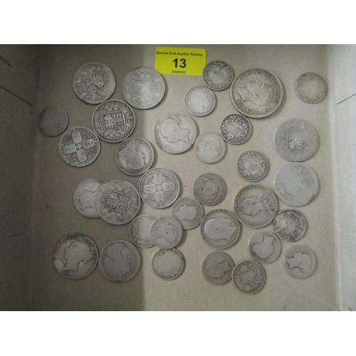 13 - A quantity of Victorian and later silver coinage to include an Edward VII one-florin two-shilling co...