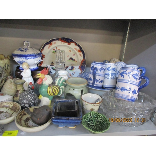 30 - Pottery to include Jerry Harper of York dishes and goblets, ornaments to include a Royal Doulton Bed...