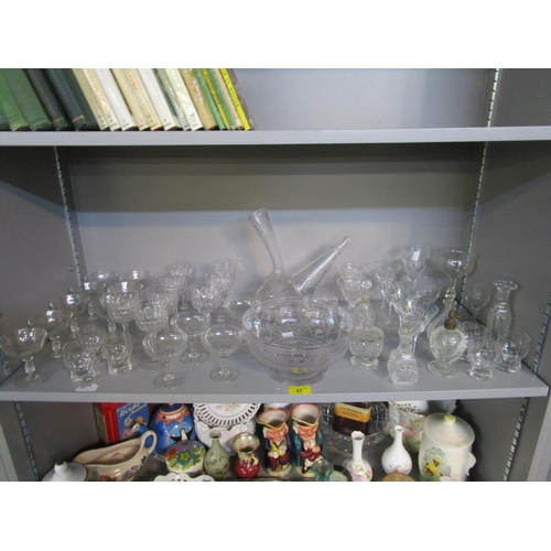47 - A selection of 20th century and late 19th century cut table glass to include a Spanish engraved and ...