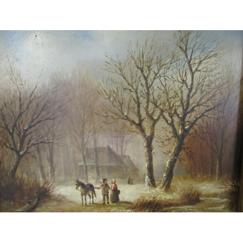 85 - Oil on board-A Continental winter scene with a cottage amongst trees with a stream and figures by a ...