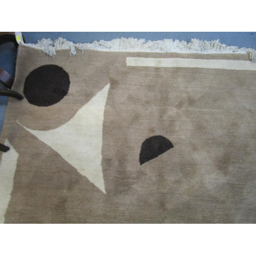 86 - Two contemporary woollen brown and cream rugs Location: RAF...