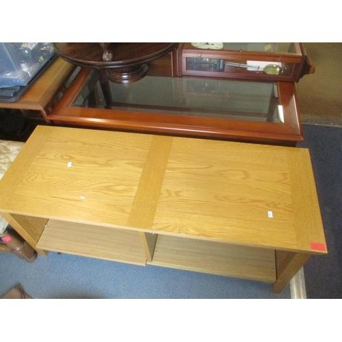34 - A modern yew two tier coffee table with inset glass top, together with a light oak low open cabinet....