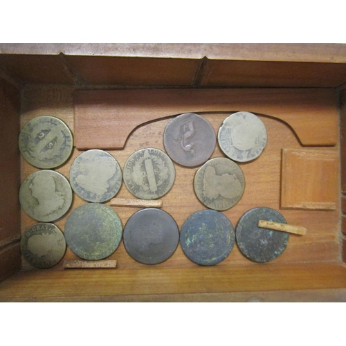 89 - A selection of coins in Victorian boxes to include American coins, British coins, French coins, some...