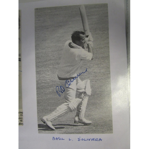 91 - A collection of cricket signed photographs and newspaper cuttings and others to include AJ W McIntyr...