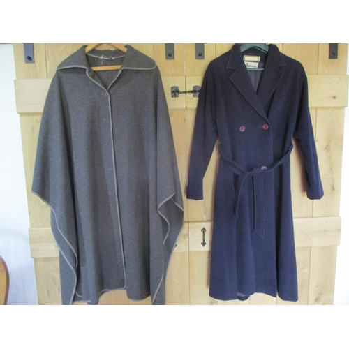 40 - Harrods - a ladies navy cashmere and woollen calf length coat, UK size 10, together with a Jaeger gr...