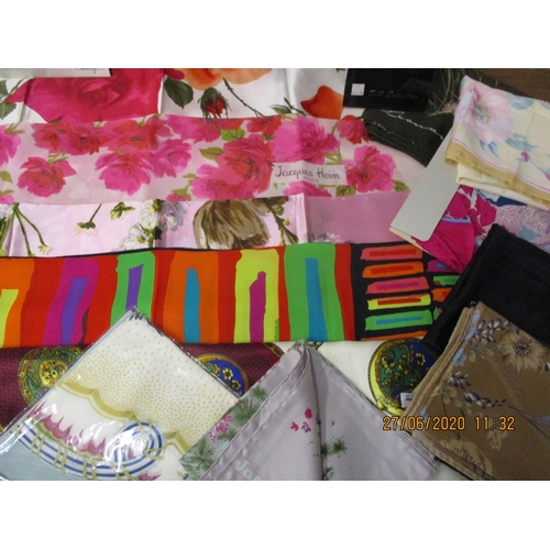 11 - A good collection of mid to late 20th century scarves, mainly silk, to include Jacques Heim, Pierre ...