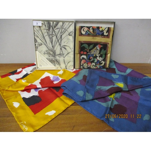 3 - Four late 20th century silk scarves to include two Donald Hamilton Fraser abstract scarves designed ...