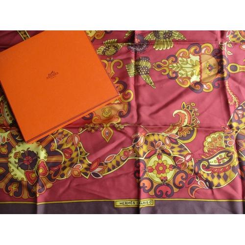 6 - Hermes - a 1970s Karen Swildens Cendrillion (Cinderella) for Hermes, silk scarf in rich o range and ...