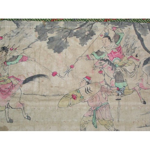 20 - A 19th century silk panel with embroidered characters and figures and mirrored buttons, having fine ...