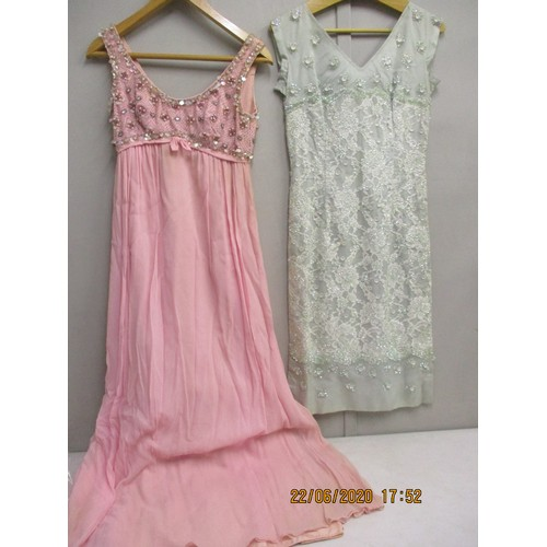 29 - A Susan Small pink sleeveless evening dress with bead and sequin detail to the bodice, mid 20th cent...