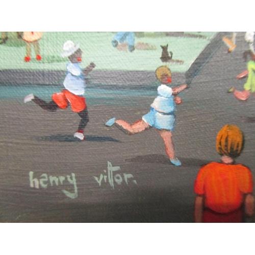 264 - Henry Victor Santos b 1939 Brazilian - Passo da Ladira,  a city street scene with children in a runn...
