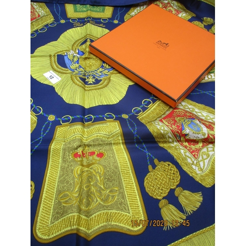 12 - Hermes - a Poste et Cavalerie silk scarf depicting coats of arms and tassels on a navy ground, hand ...