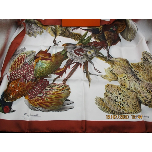 13 - Hermes -A Belle Chasse silk scarf designed by Henri de Linares, depicting five pheasants on a white ...