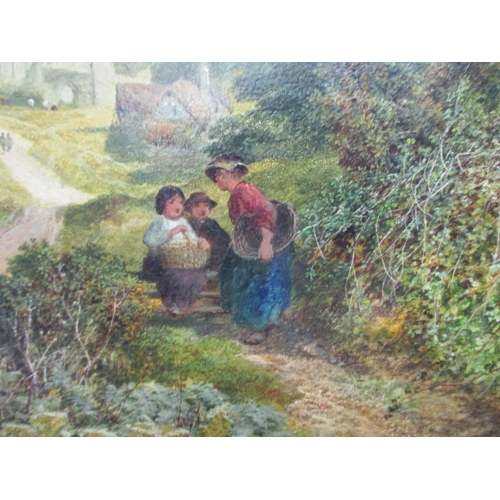 244 - Attributed to James Reel - Riveaux Abbey a mother and two children on a path with buildings beyond, ...