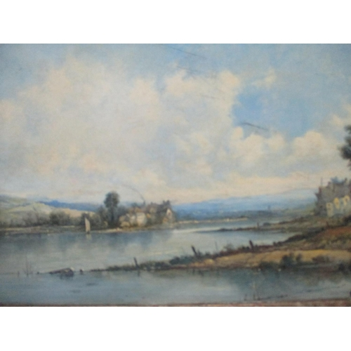 252 - A H Vickers - Loch Awe, with cottages, a man, a boat and fields, oil on canvas, signed lower right, ...
