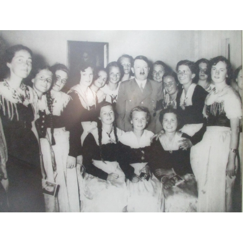255 - A group portrait of girls with Hitler, monochrome photograph, 9